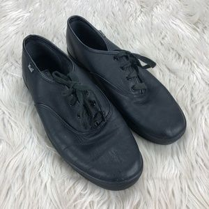 Keds Black Faux Leather Classic Sneakers